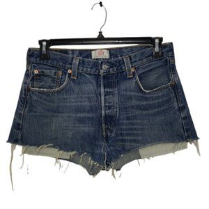 LEVI'S blue 501 high rise button fly shorts 30